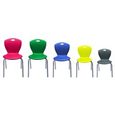 """Discover"" Classroom Chairs 12"" Azure Blue / Chrome Legs"