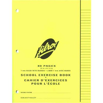 """Hilroy"" Exercise Book 8.5""x11"" Ruled 7mm 80 / pg."