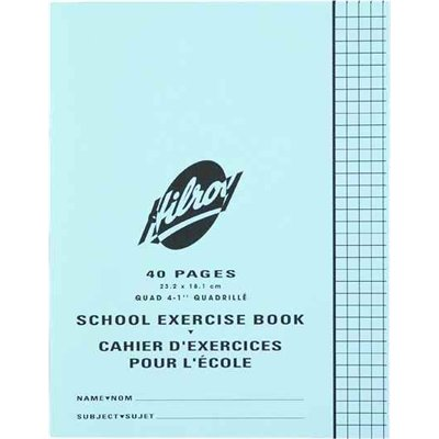 """Hilroy"" Exercise Book 7""x9"" Quad 4-1"" 40 / pg"