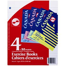 "Canada Exercise Book 8-1 / 2""x11"" Ruled 32pg 4 / pkg."